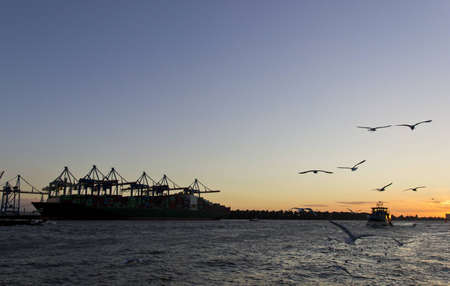 Huge container cargo ship at sunset in Hamburg harbor. photo