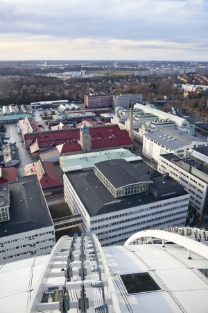 ericsson: View to stockholm from Globe arena, or Ericsson Globe, the biggest spherical building in the world.