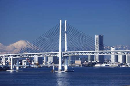 bay bridge: Yokohama Bay Bridge, Mt. Fuji, and a building