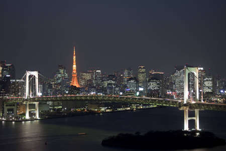 tokyo: The landscape of Rainbow Bridge and the city which are night at a tourist spot in Tokyo