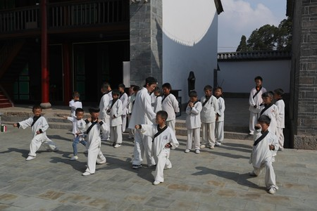 Chinese little kids learning kungfu in Huize County, Yunnan Province