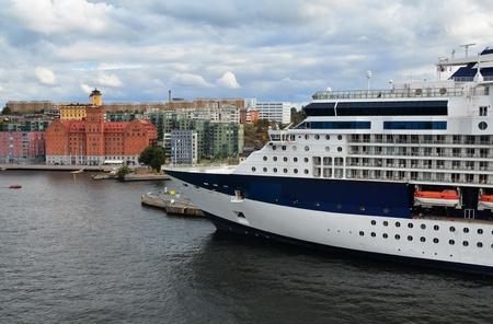 Cruise ship in port of Stockholm, Sweden