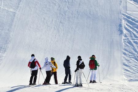 Alpine ski resort  Skiers on a  slope