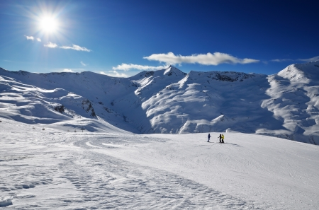 Slope on the skiing resort in Alps, Sunny winter day,  Livigno, Italy
