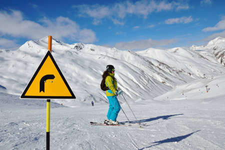 Informational sign on the ski slope in Alps, Livigno, Italy Editorial