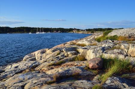 Summer scandinavian landscape on a sunset  Aland islands