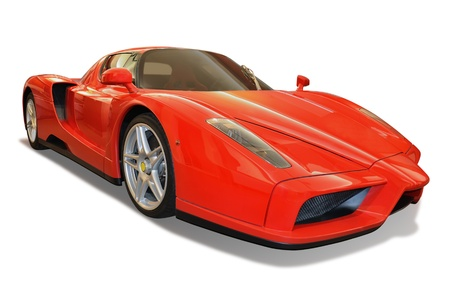 red sports car isolated on white background with included clipping path