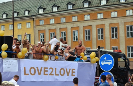 Stockholm, Sweden - august 06, 2011- Participants and spectators of The gay pride parade. Editorial