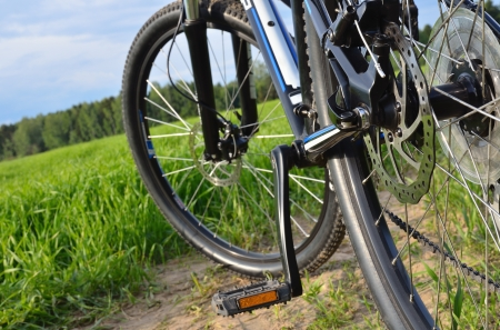 mountain bike in countryside, shallow depth of field Stock Photo