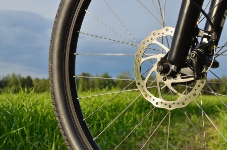 mountain bike wheel with disc brake, shallow depth of field photo