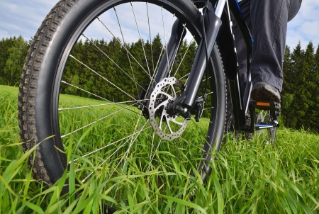 mountain bike wheel with disc brake photo