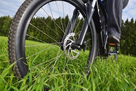 mountain bike wheel with disc brake Stock Photo