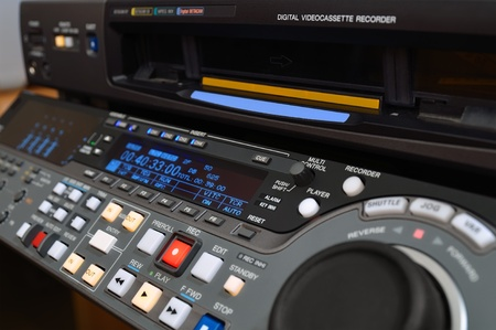 recorder: Professional video recorder (digital betacam format), shallow depth of field.