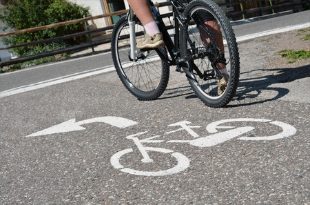 white painted bicycle road sign Stock Photo