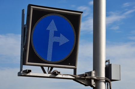 straight or right turn ahead  road sign