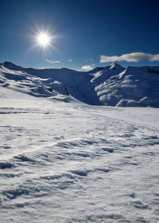 landscape of the skiing resort in Alps, Livigno, Italy