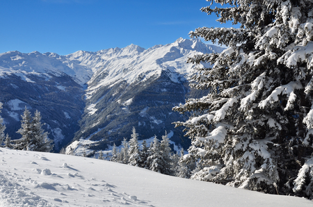 Winter landscape in Austrian Alps photo
