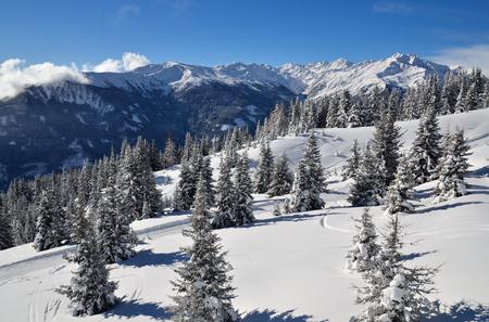 Winter mountain landscape in austrian alps