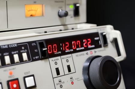 readout: Professional video recorder Betacam SP. Control panel. Stock Photo