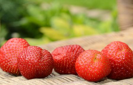 Fresh red strawberries on wooden table Reklamní fotografie
