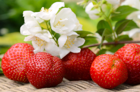 Fresh red strawberries and white flowers on wooden table 版權商用圖片