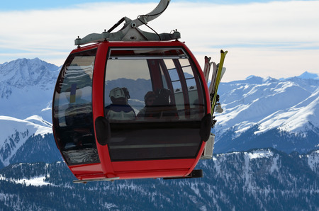 cable car in the skiing resort in Alps, Serfaus-Fiss-Ladis, Austria