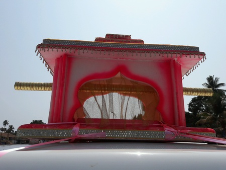 Temple shaped designer colored palanquin with handles