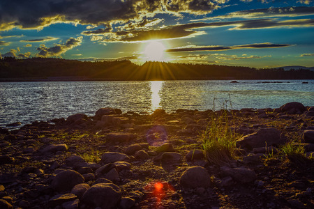 ムーア貯水池の夕日 写真素材