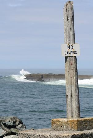 coquille: Nessun segno Camping al molo sud del fiume Coquille baia vicino Bandon Oregon Archivio Fotografico