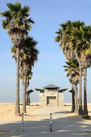 venice: Palms and bathroom on Venice Beach near Los Angeles California Stock Photo