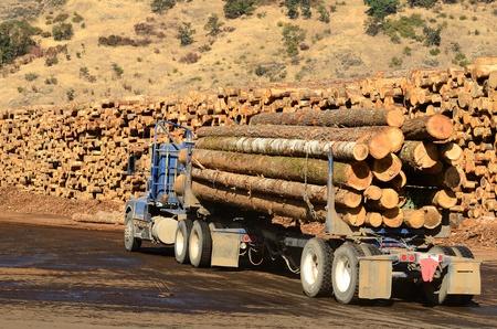 ログ トラック オレゴンの製材所にその負荷を提供します