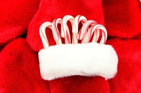 Candy canes in a Christmas Stocking. photo