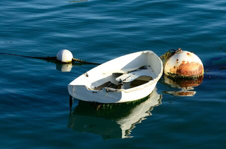 Small harbor boat hooked up to a large bouy in San Luis Obisbo Bay, CA photo