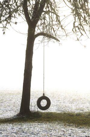 Een band swing hangt aan een boom na een lage heuvel met sneeuwstorm in de buurt van Roseburg Oregon