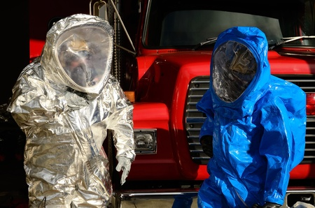 hazardous material team: Hazardous Materials Team drill  - Working in A level suits.