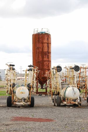 Old ag equipment along the road near Hermiston Oregon