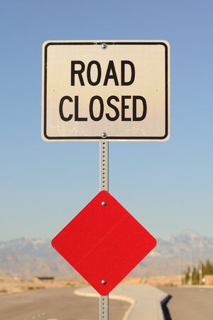 Road Closed sign in a new commercial area, Las Vegas