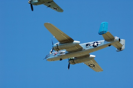 aluminum airplane: B-25 Mitchell World War II aircraft at a airshow in Oregon