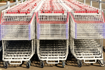 retail chain: Group of shopping carts out side a major retail chain Stock Photo