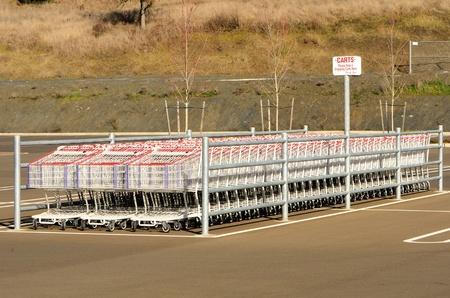 retail chain: Gruppo di carrelli fuori lato una grande catena al dettaglio