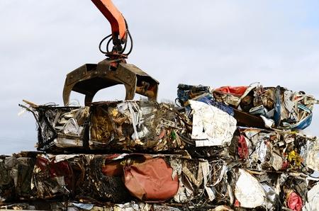 salvage yard: Large blocks of low grade steel at a metal recycle scrap yard Editorial