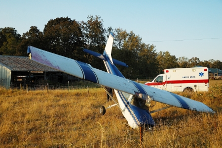 Airplane had a forced landing in a field, out of fuel, no injury, Roberts Creek Rd  Roseburg, OR