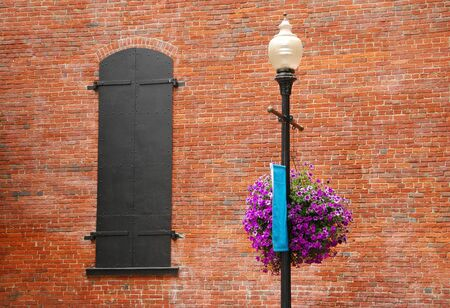 Contrast of flowers brick and steel off of Oak Street in Downtown Roseburg Oregon during a walkabout  Stock Photo - 13636118