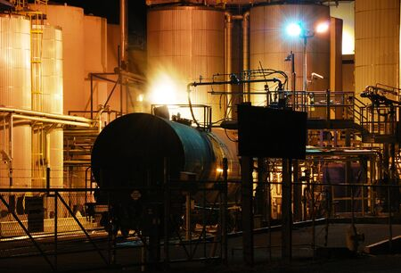A railroad tanker is being off-loaded at  a chemical plant in Albany Oregon   Tanker is loaded with a poisonous liquid