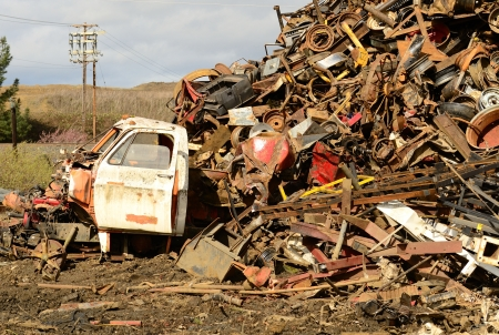 salvage yard: Large pile of old steel at a metal recycling scrap yard Stock Photo