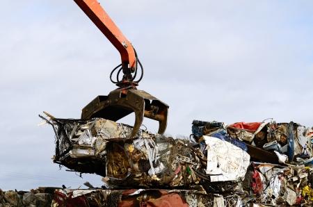 salvage yard: Large blocks of low grade steel at a metal recycle scrap yard Stock Photo