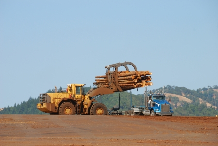 Large Loader unloading a log truck of its 2nd growth logs on the log deck in Roseburg Oregon photo