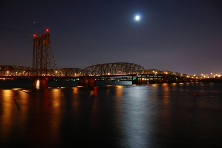 Columbia River Interstate Bridge for Interstate 5 between Portland Oregon and Vancocover Washington. photo