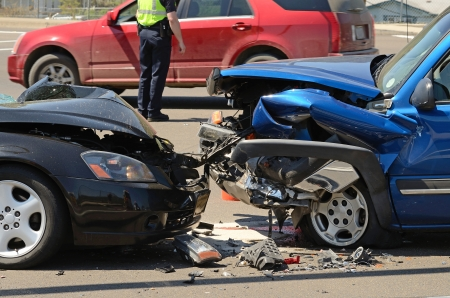 A two car head on collision results in one person going to the hospital in Roseburg Oregon, April 23, 2012 photo