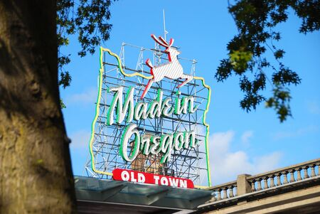 made: Made in Oregon  White Stag  sign in Old Town Portland Oregon near Burnside Street and the Saturday Market